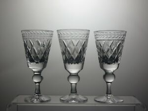 BRIDGE-CRYSTAL-BY-OLD-HALL-034-SEAWITCH-034-CUT-SHERRY-GLASSES-SET-OF-3