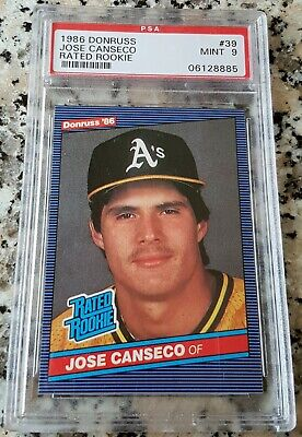 Jose Canseco 1986 Donruss Rated Rookie Card Rc Psa 9 Mint 40