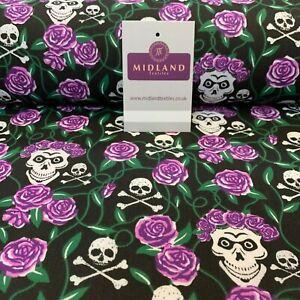 "Halloween Skull Paisley printed poly-cotton fabric 58/"" M754 Mtex"
