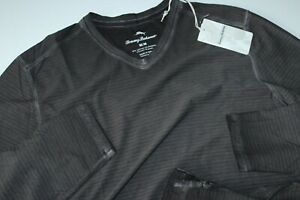 Tommy Bahama Tee Shirt Cirrus Coast V Neck Coal Black T223551 LS XX-Large XXL