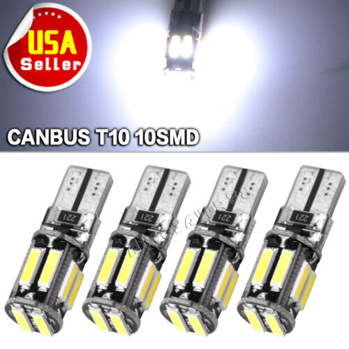 4X CANBUS ERROR FREE T10 10SMD LED COOL WHITE INTERIOR LICENSE PLATE LIGHTS BULB