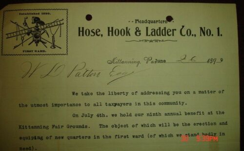 Old 1899 rare Hose Hook & Ladder Co No 1 letterhead Fire Dept Kittanning PA Hoey
