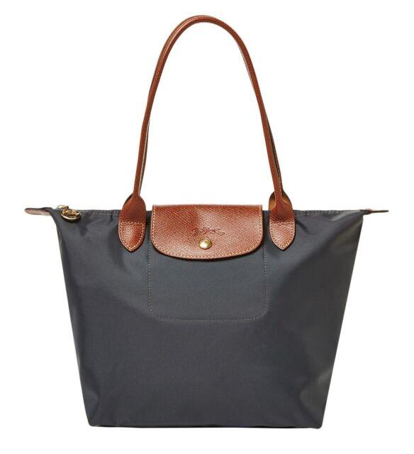 Authentic Longchamp Le Pliage Medium Nylon Tote 2605089 Gunmetal ... 7361f9be5f