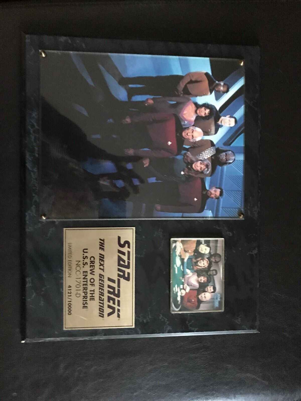 1994 Star Trek Crew Enterprise Photo NCC-1701-D Plaque