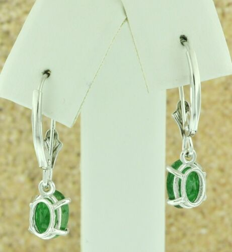 14k white gold lever back dangling oval Natural Emerald earring 2.20 carats USA