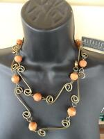 Metalicus Designed & Made In Australia Wooden Beads & Metal Necklace Ladies