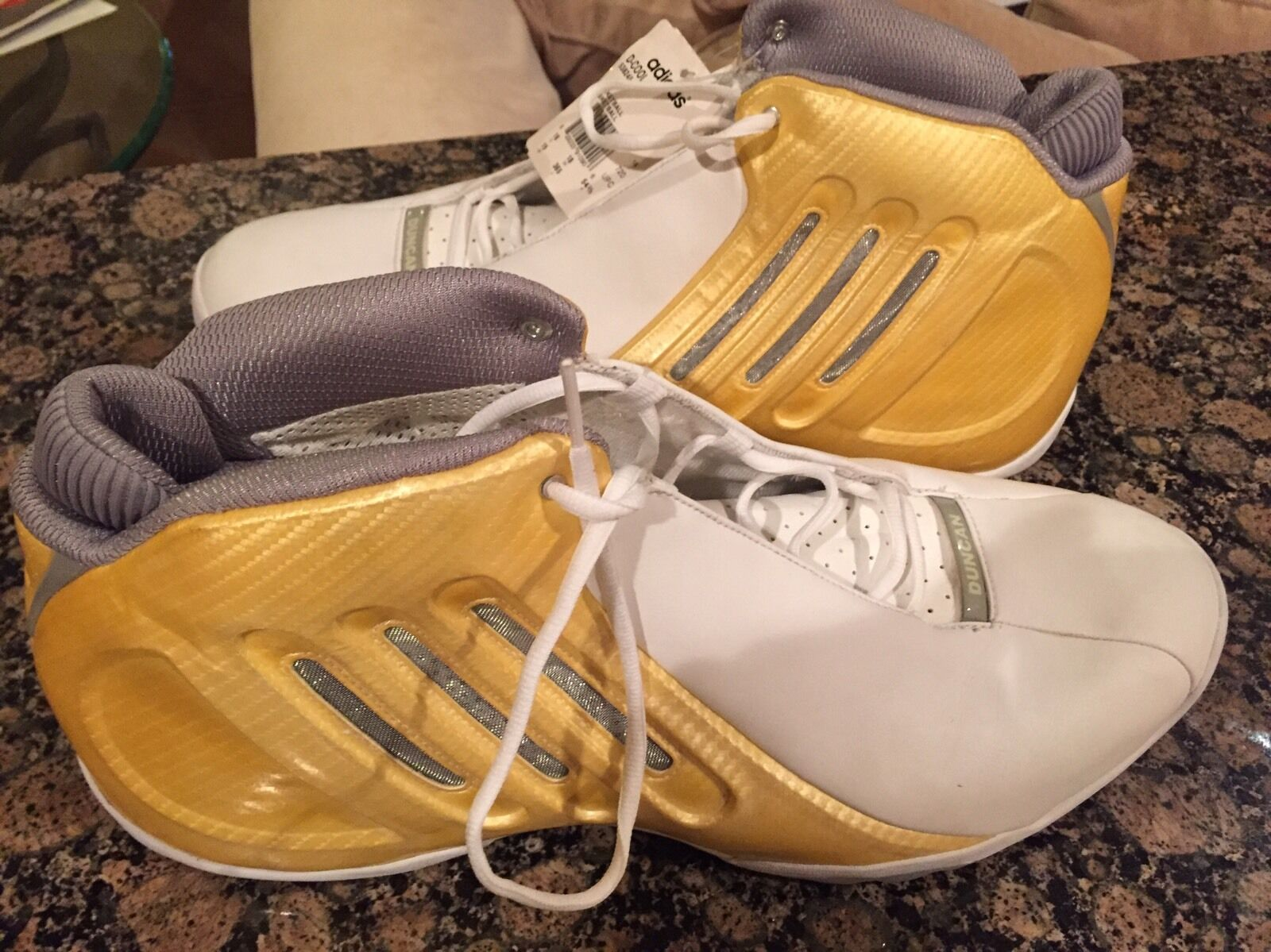 New Tim Duncan Adidas D-Cool White Gold Shoes Comfortable