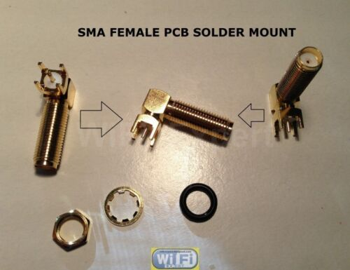 1 x PCB Mount LONG SMA Female Right Angle Coaxial Gold RF Bulkhead Connector USA
