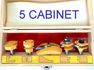 """5 pc 3-1/2"""" Cove Raised Panel & Ogee R&S Router Bit Set S"""