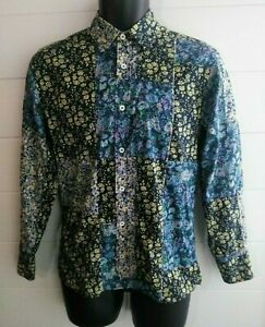 Liberty-of-London-Floral-Patchwork-Slim-Fit-Sz-15-Small-L-S-Button-Shirt-Italy