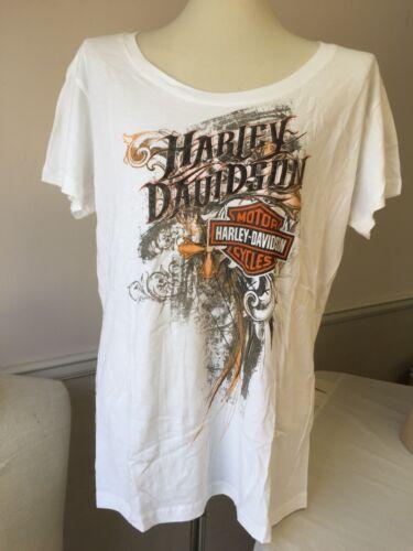 "Harley-Davidson Women/'s White Short Sleeve shirt /""Hardly Innocent/"" 2XL"
