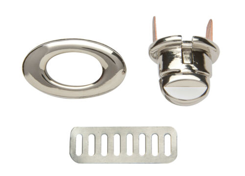 Oval Auto Locking Metal Purse Bag Twist Turn Lock 3.4cm x 1.9cm