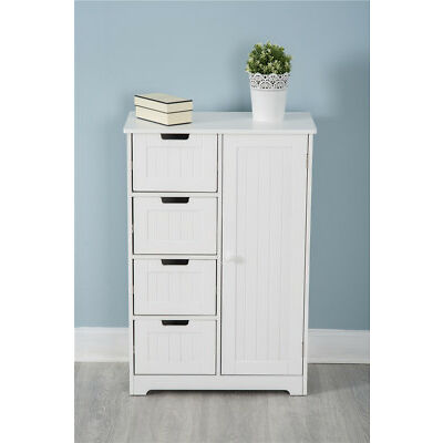 White Wooden 4 Drawer 1 Door Cupboard Cabinet Free Standing Unit Storag Bathroom