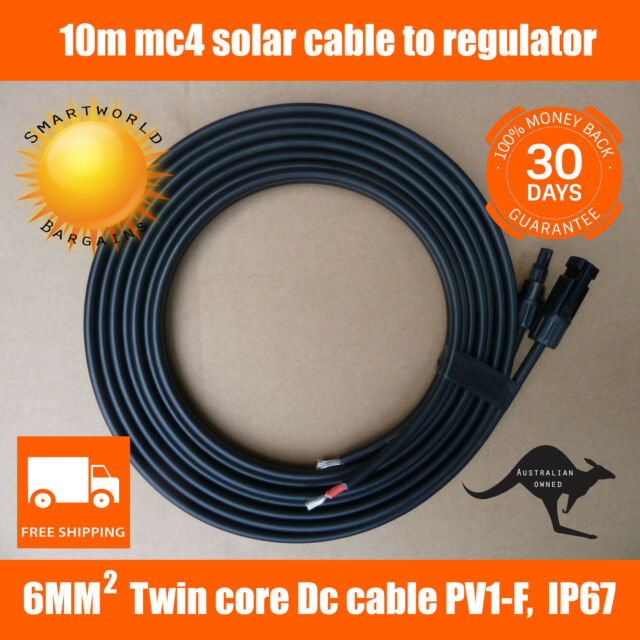 10m Twin Core 6mm2 50A Mc4 Extension Cable from PV Solar Panel to regulator