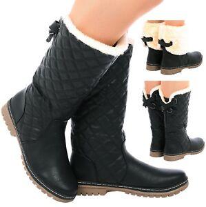 Boots Snow Mid Calf Sole Boot Details Faux Zu Sz Grip Winter Quilted Ladies Linned Fur Warm 3AL5jq4R