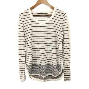 Jeanswest-Ladies-Sweater-White-Black-Striped-Long-Sleeve-Pull-Over-Jumper-Sz-S