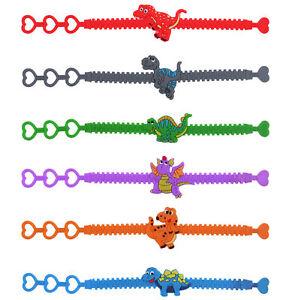 6 Dinosaur Adjustable Bracelets - Pinata Toy Loot/Party Bag Fillers Children/Kid