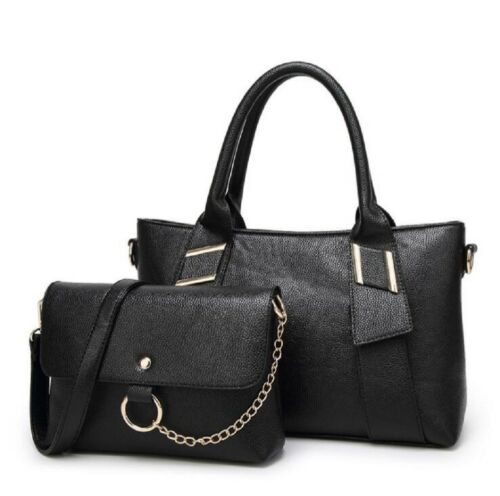 Womens Ladies PU Leather Shoulder Bags Totes Handbags with Matching Wallet Purse