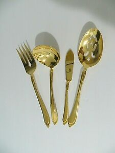 ONEIDA-STAINLESS-MIXED-LOT-OF-4-GOLD-SERVING-PIECES