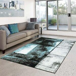 Details zu Teppich Play Flachflor modernes abstraktes Design türkis grau  Wohnzimmer NEU