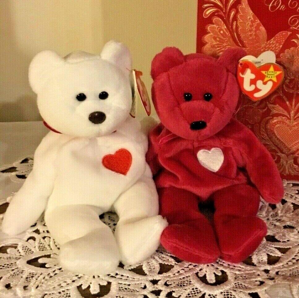 Ty Beanie Babies Bears Valentina & Valentino w MAJOR ERRORS RARE mint