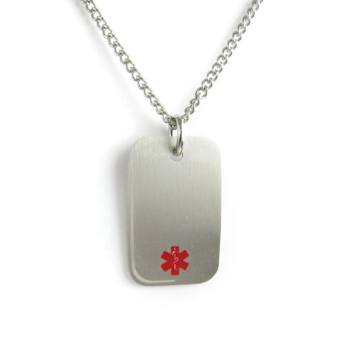 MyIDDr-Bee Sting Allergy Medical Alert Necklace Stainless steel,Pre-Engraved