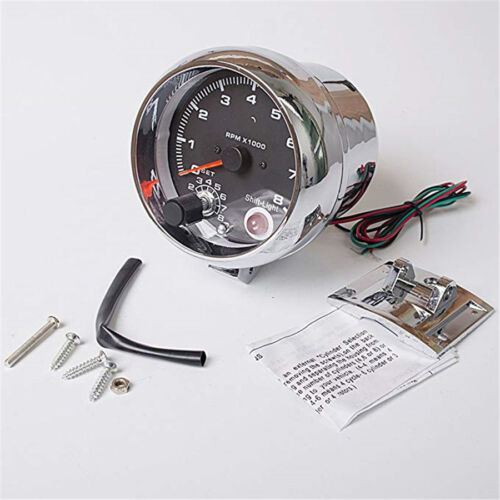 "3.75/"" Chrome 7 Colors Background LED Tachometer Red LED Shift Light RPM X 1000"
