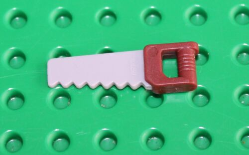 NEW!!! 18983pb01 Lego Light Bluish Grey Saw with Reddish Brown Handle