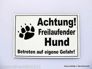 Achtung Freilaufender Hund,gravur Schild,15 X 10 Cm,hundeschild,warnschild,neu Haustierbedarf