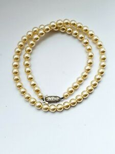 Vintage-16-034-Faux-PEARL-Single-Strand-Necklace
