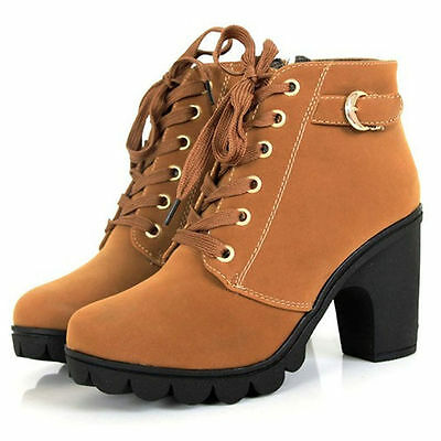 Winter Women's Vintage Platform High Heel Shoes Motorcycle Martin Boots US SIZE