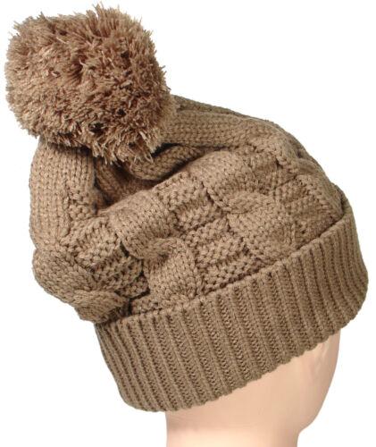 Winter Warm Mens Womens Slouchy Beanie Cable Knit  BIG POM POM Hat Crochet