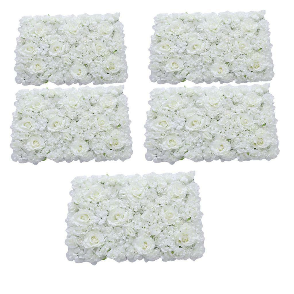5pcs Romantic Artificial Flower Wall Panel Wedding Venue Floral Decor Weiß