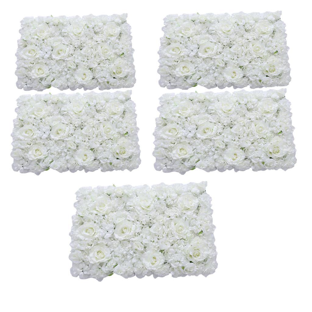 5pcs romantique fleur artificielle Mur Panneau Mariage Venue Floral Decor Blanc