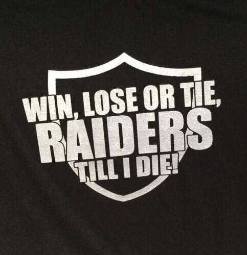S-3XL Silver /& Black T-Shirt Oakland Raiders Lose or Tie Win