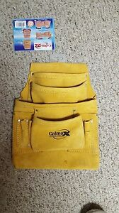 LOT OF 5 NEW CALMAX  LEATHER TOOL  10 POCKETS NAIL AND TOOL POUCH BAG