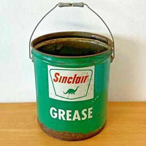 Vintage Sinclair Grease Pail Bucket 5 gallon Dino Logo Bale Handle Green Metal