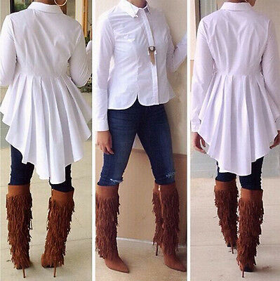 Sexy Women Bodycon Long Sleeve Shirt Tops White Blouse Ladies Top Swallow-tailed