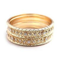 Gold Bangle Set With Clear Rhinestones