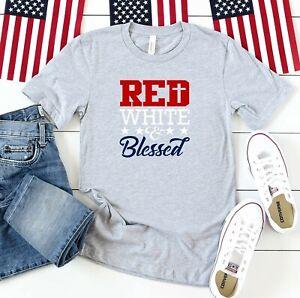 Red-White-Blessed-Cross-Stars-Gray-Unisex-T-Shirt-Patriotic-4th-Of-July-Handmade