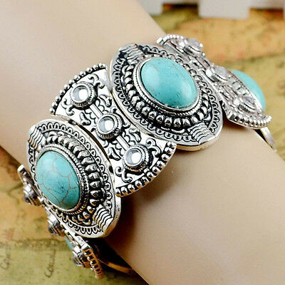 Classic Boho Womens Retro Vintage Natural Turquoise Tibetan Silver Bracelet ATAU