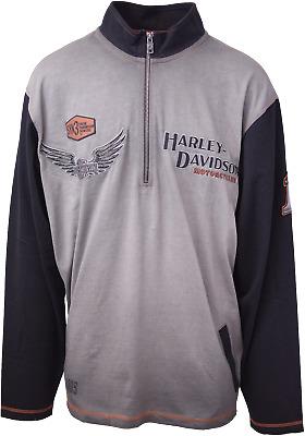 Retail $90 Harley-Davidson Men/'s Grey L//S 1//3 Zip Pullover Crew Neck