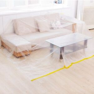Image Is Loading Dust Sheet Clear Plastic Cover Protection Floor Furniture