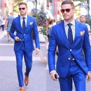 d0b633408a Mens Suits for Man Royal Blue Tuxedos Wedding Groomsmen 2 Vents ...
