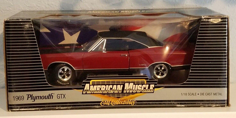1 18 Ertl American Muscle 1969 Plymouth GTX Rojo Con Negro súperior PD