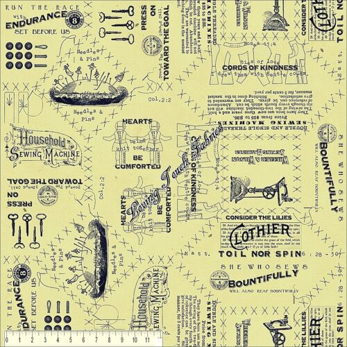 "SELECT SIZE QT FRISCH /""SHE WHO SEWS/"" 23067ES VINTAGE SEWING BIBLE WORDS FABRIC"