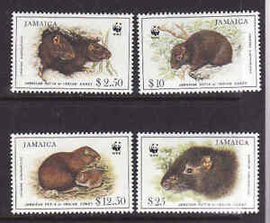 Jamaica-1996-Sc-857-60-unused-NH-WWF-set-Jamaican-Hutia-Animals-4v-MNH