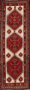 Vintage-Geometric-Meshkin-Ivory-Oriental-10-ft-Runner-Rug-Wool-Hand-Knotted-3x10