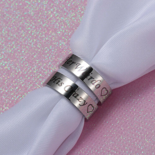 His Crazy Her Weirdo Couple Ring Stainless Steel Rings for Lovers Promise Ring