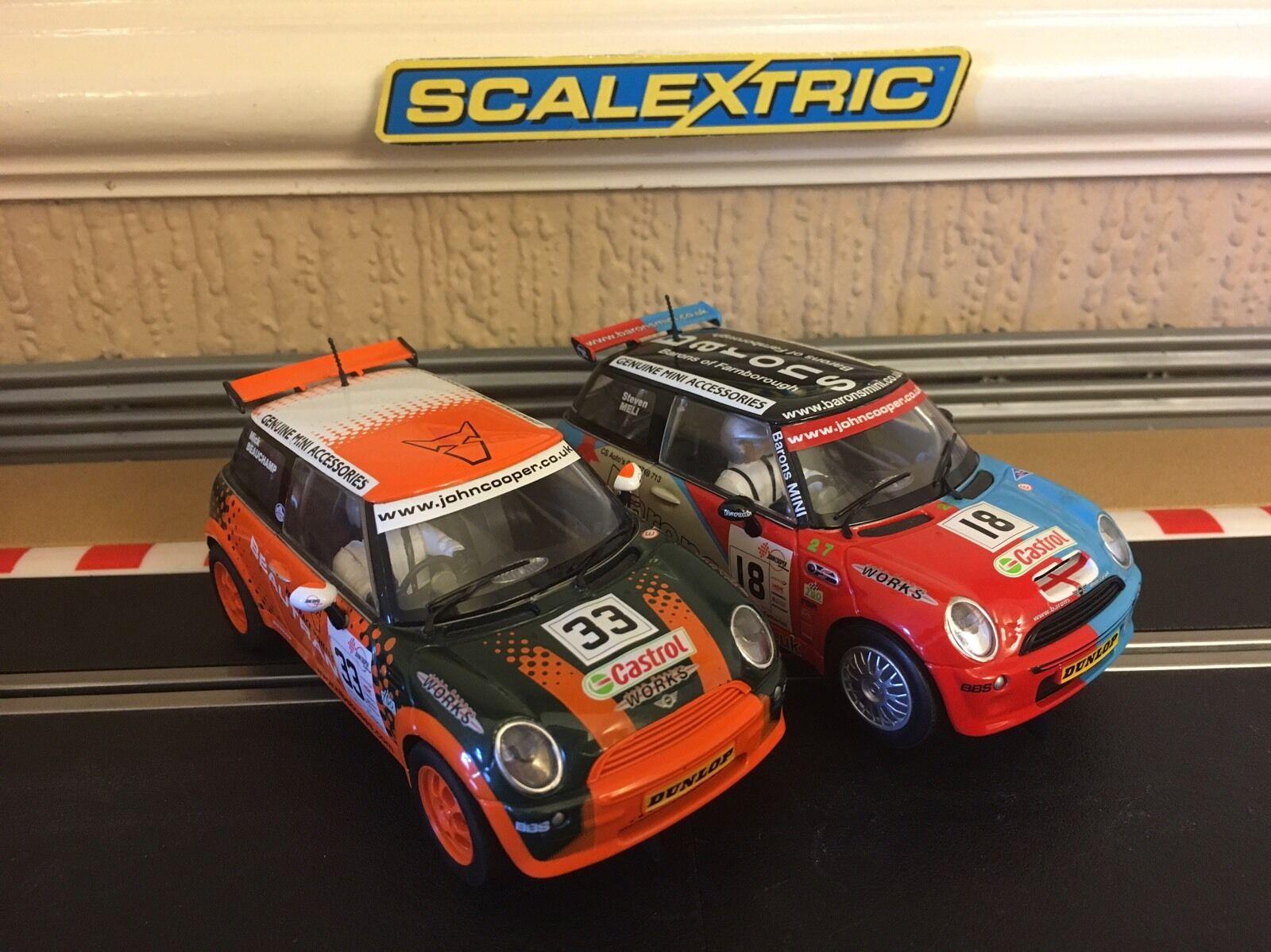 Scalextric  Mini Cooper Barons No18 & Beautran No33 Excellent No Missing Parts